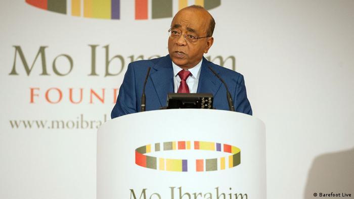 Mo-Ibrahim speaking at his event.