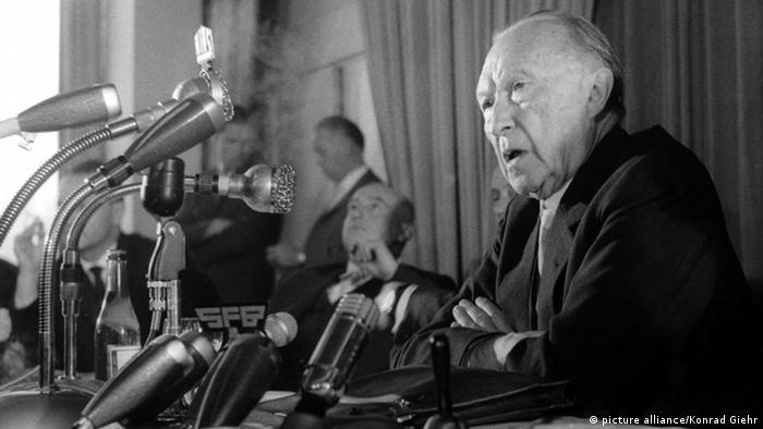Konrad Adenauer gives a radio address