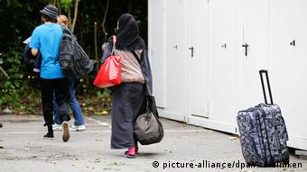 Refugees seen from behind
