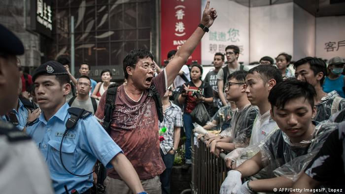 Prodemokratische Demonstranten und Gegendemonstranten am 03.10.2014 in Hongkong (Foto: AFP/Getty Images/P. Lopez)