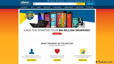 Screenshot Internetsite Flipkart Big Billion Day Sale Indien (flipkart.com)
