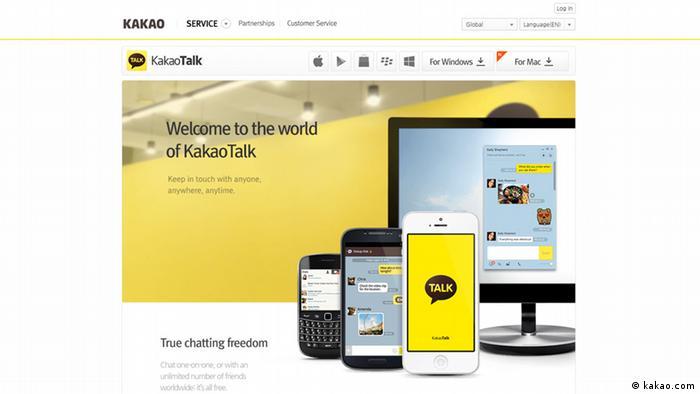 Screenshot der Website kakao.com/talk