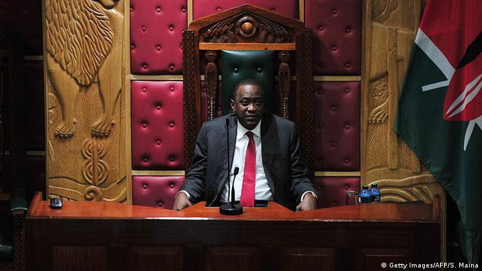 President Uhuru Kenyatta addresses the parliament in Nairobi in October 2014.