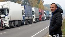 Russische Transport-Unternehmer sind die stärksten auf dem Logistikmarkt der ehemaligen Sowjetunion. Litauische Unternehmer leiden darunter enorm. Auf dem Bild - Transporter in Litauen. Copyright: die Bilder wurden von dem DW-Korr. in Litauen gemacht - Vitold Jančis.