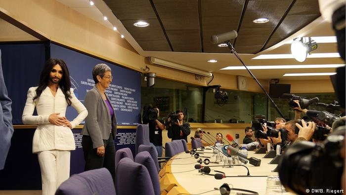 Conchita Wurst at a press conference in the European Parliament