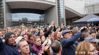 EU Conchita Wurst fans outside EU Parliament