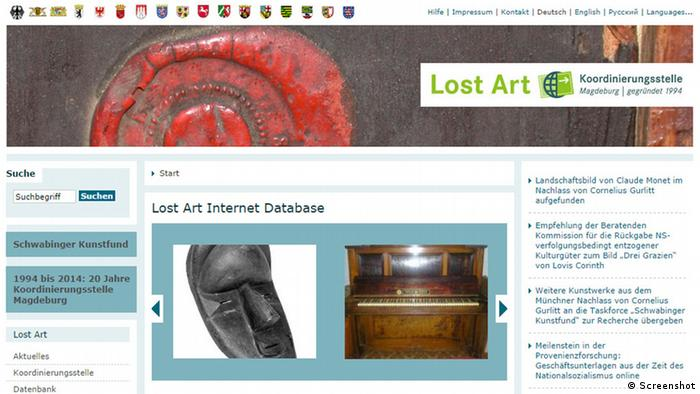 Screenshot Lost Art Internet Database