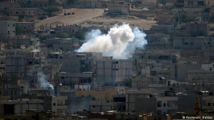 Smoke rises from Kobani