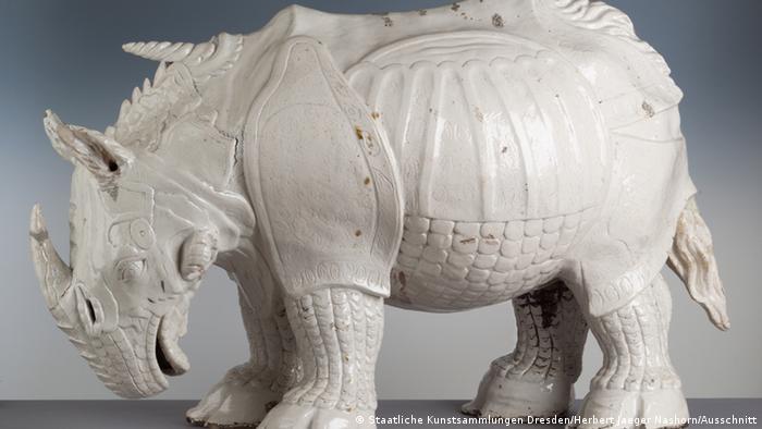 A Meissen porcelain rhinoceros