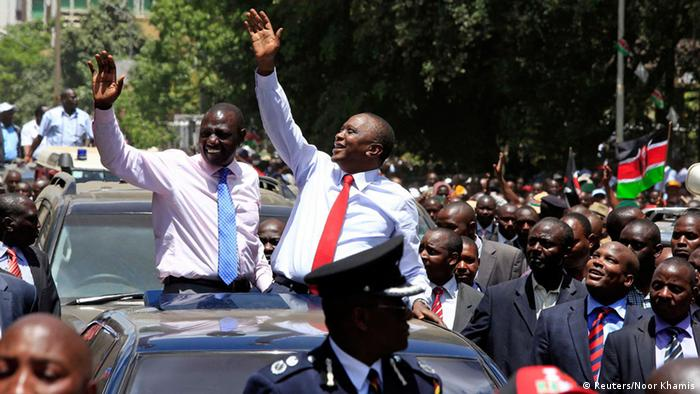 Uhuru Kenyatta being cheerfully received by crowds after turning home from the ICC in 2014, picture: REUTERS/Noor Khamis