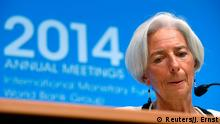 International Monetary Fund (IMF) Managing Director Christine Lagarde reacts during a news conference at the IMF-World Bank annual meetings in Washington October 9, 2014. REUTERS/Jonathan Ernst (UNITED STATES - Tags: POLITICS BUSINESS)