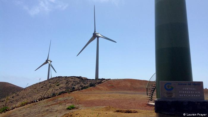 View of the base of the 64-meter-high windmills on El Hierro Island (Photo: Lauren Frayer/DW)