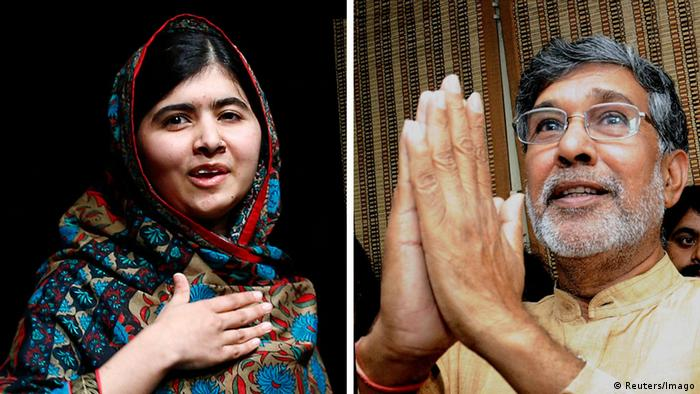 Malala Yousafzai with her hand on her heart, Kailash Satyarthi with his hands together in a praying gesture