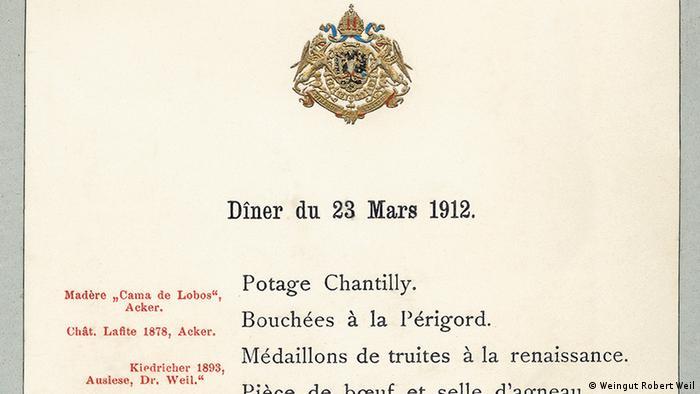 Cardápio de 23 de março de 1912