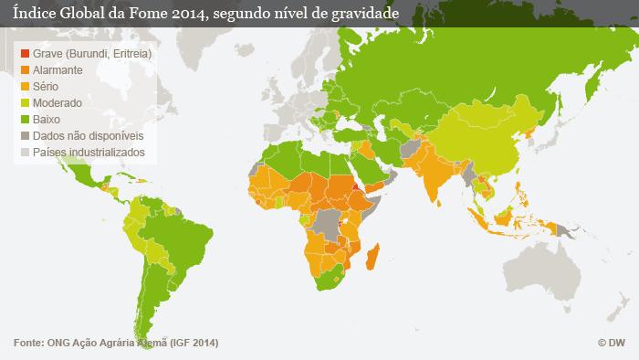 Infografik Welthunger-Index 2014 Übersichtskarte Portugiesisch