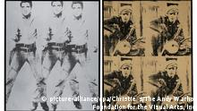 ARCHIV - HANDOUT - Die Andy Warhol Kunstwerke (l-r) Triple Elvis (1963) und Four Marlon (1966). Die Westdeutschen Spielbanken wollen in New York zwei ihrer wichtigsten Bilder versteigern lassen und erhoffen sich dafür 100 Millionen Euro. Im November sollen bei Christie's zwei Werke von Andy Warhol zum Verkauf kommen, deren Schätzwert nach Angaben des Auktionshauses Christie's bei zusammen 130 Millionen Dollar liegt. «Triple Elvis» von 1963 und «Four Marlons» von 1966 sollen zu den Hauptexponaten der Herbstauktion werden. Foto: Christie`s/The Andy Warhol Foundation for the Visual Arts, Inc/ dpa (ACHTUNG: Bildverwendung nur im Zusammenhang mit der beschriebenen Auktion und unter Nennung der Quelle: Foto: Christie`s/The Andy Warhol Foundation for the Visual Arts, Inc/dpa) +++(c) dpa - Bildfunk+++