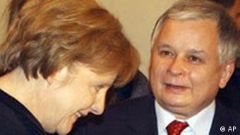 Angela Merkel mit Lech Kaczynski in Polen