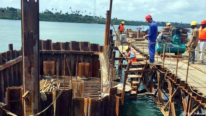 Bridge construction in Tanzania