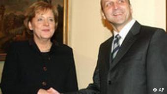 Angela Merkel mit Kazimierz Marcinkiewicz, Polens Premierminister