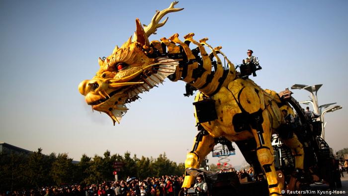 A mechanical installation looking like a giant dragon