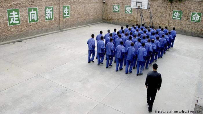 Exercise hour at a compulsory drug rehabilitation clinic in Lanzhou, Gansu Province China (Photo: Jiang Shenglian UPPA/Photoshot)