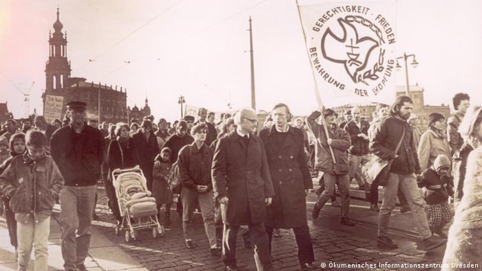 Protestors march in Dresden