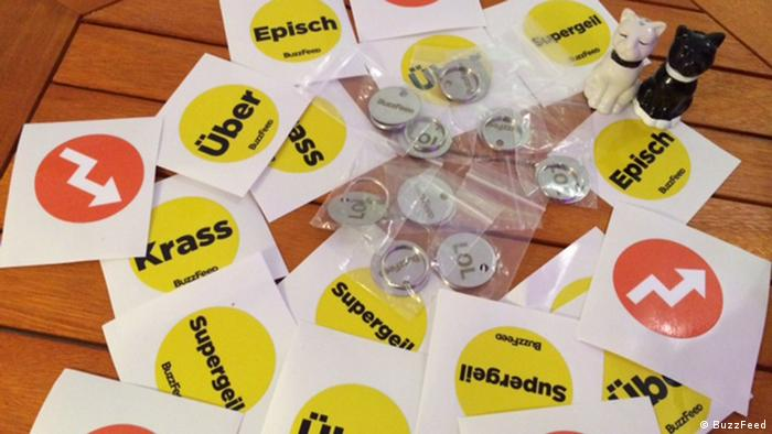 Buttons and stickers at BuzzFeed's launch in Berlin