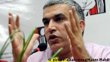 epa04438193 (FILE) (FILE) A file photograph dated 22 November 2011, shows Bahraini human rights activist Nabeel Rajab speaking during the presentation of a report at the Bahrain Human Rights Society (BHRS) in Manama, Bahrain. Following Nabeel Rajab's arrest on 01 October 2014 Bahraini authorities 09 October 2014 said he will remain in jail on charges of defamation related to comments he made on Twitter, specifically 28 September when he suggested that Bahraini men joining the group calling itself Islamic State (IS) or other militant groups came from the Bahraini security services; Rajab was released 24 May 2014 after serving two years in jail on charges of protesting. EPA/MAZEN MAHDI +++(c) dpa - Bildfunk+++