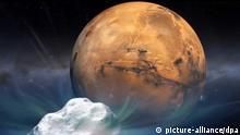 HANDOUT - Künstlerische Darstellung zeigt den Kometen «Siding Spring», der am kommenden Sonntag (19.10.2014) in knapp 140 000 Kilometern Entfernung am Mars vorbeirasen wird. Die US-Raumfahrtbehörde Nasa wird das astronomische Ereignis mit mehr als einem Dutzend verschiedene Raumsonden, Teleskope und Marsfahrzeuge beobachten: Foto: Nasa/dpa (ACHTUNG: Nur zur redaktionellen Verwendung im Zusammenhang mit der aktuellen Berichterstattung und nur bei Nennung: Foto: Nasa/dpa - zu dpa Komet streift Mars unter genauester Beobachtung am 17.10.2014)) +++(c) dpa - Bildfunk+++ eingestellt von sti