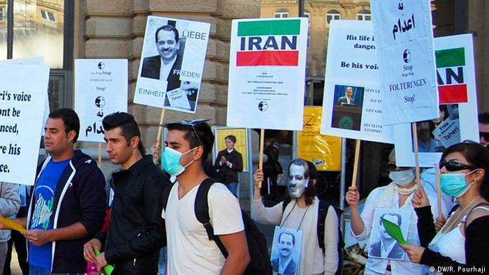 Proteste zur Unterstützung von Mohammad Taheri in Frankfurt (DW/R. Pourhaji)