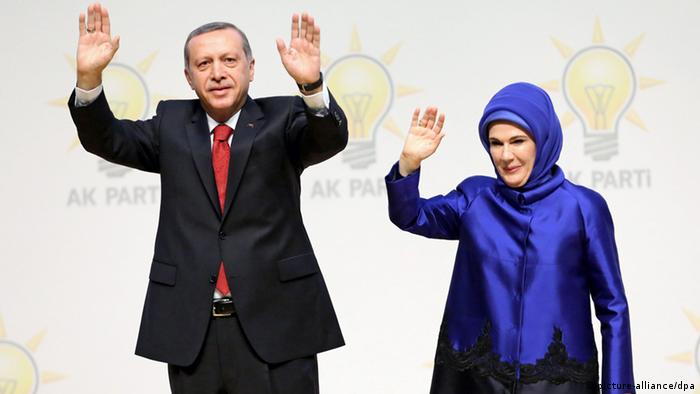Turkish President Recep Tayyip Erdogan (then prime minister) and his wife Emine Erdogan wave to members of ruling Justice and Development Party (AKP) at their group meeting in Ankara, Turkey, 01 July 2014 (Photo: EPA/DEPO PHOTOS +++(c) dpa - Bildfunk+++)