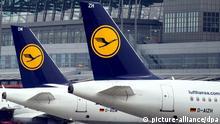 ARCHIV - Lufthansa Flugzeuge sind am 31.03.2014 am Flughafen in Hamburg zu sehen. Aufgrund des Streiks der Lufthansa-Piloten auf der Kurz- und Mittelstrecke sollen am Dienstag nach dem vorläufigen Notfall-Flugplan der Lufthansa im Internet nach einmal 30 Abflüge ab Hamburg wegfallen, am Mittwoch sechs. Foto: Maja Hitij/dpa (zu dpa vom 21.10.2014) +++(c) dpa - Bildfunk+++