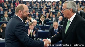 Μάρτιν Σουλτς και Ζαν-Κλοντ Γιούνκερ στο Ευρωπαϊκό Κοινοβούλιο