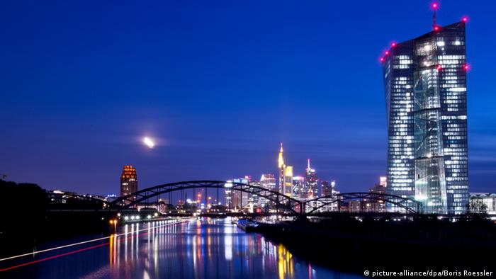 Frankfurt skyline with the buildings all lit up at night