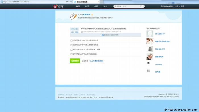 Screenshot von der Internetseite vote.weibo.com