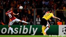 ISTANBUL, TURKEY - OCTOBER 22: Marco Reus of Borussia Dortmund scores his team's third goal during UEFA Champions League Group D match between Galatasaray and Borussia Dortmund at Turk Telekom Arena on October 22, 2014 in Istanbul, Turkey. (Photo by Lars Baron/Getty Images)