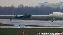 Wrack der Maschine von Christophe de Margerie am Flughafen Vnukovo bei Moskau 21.10.2014
