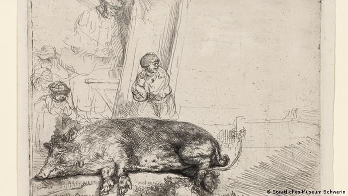 Гравюра Рембрандта, где связанная хрюшка покорно ожидает решения своей судьбы...