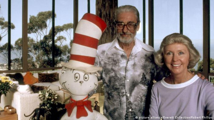 Theodor Geisel poses with his wife, Audrey, and the Cat in the Hat