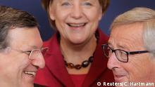 Deutschland EU Gipfel Angela Merkel, Baroso und Jean-Claude Juncker