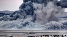 Türkei Syrien Kämpfe um Kobane von der Grenze aus gesehen Luftschläge