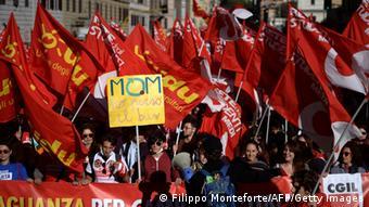 Από την συγκέντρωση διαμαρτυρίας του περασμένου Σαββάτου στη Ρώμη, ενάντια στην μεταρρύθμιση του εργασιακού