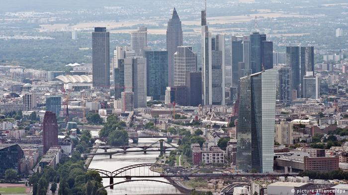 The Frankfurt skyline with the new ECB premises in the foreground