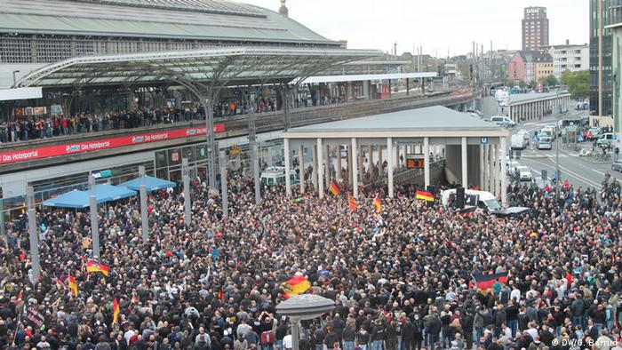 An overhead view of the protest in Cologne