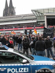 Police and demonstrators in Cologne on October 26