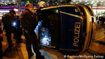 Overturned police vehicle
