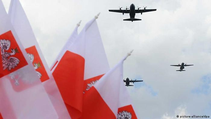 A symbolic image of Polish air force planes flying over Polish flags