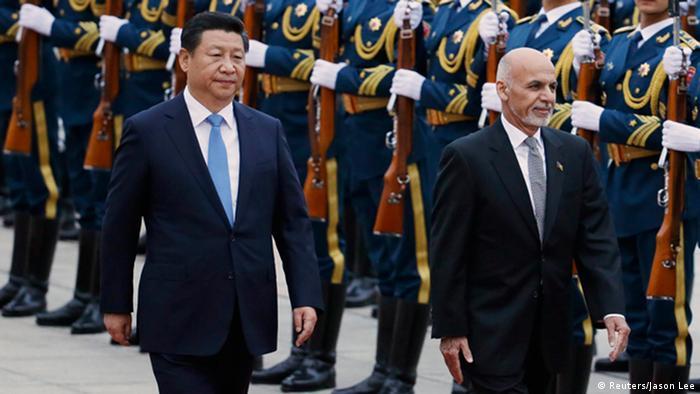 Chinese President Xi Jinping and Afghan leader Ashraf Ghani in Beijing