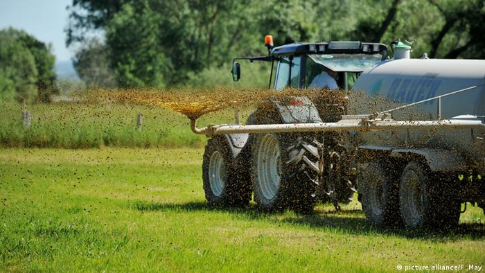 Tractor spraying liquid manure on a field (Symbolbild) (picture alliance/F. May)