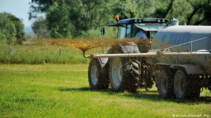 Fertilizer being spread on a field
